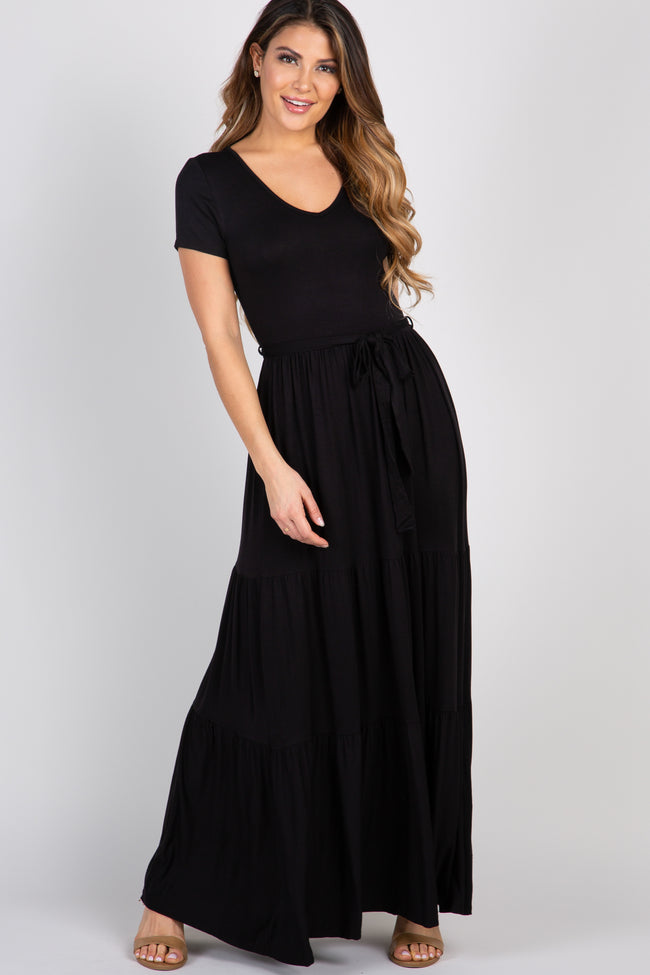 Black Sash Tie Tiered Maxi Dress