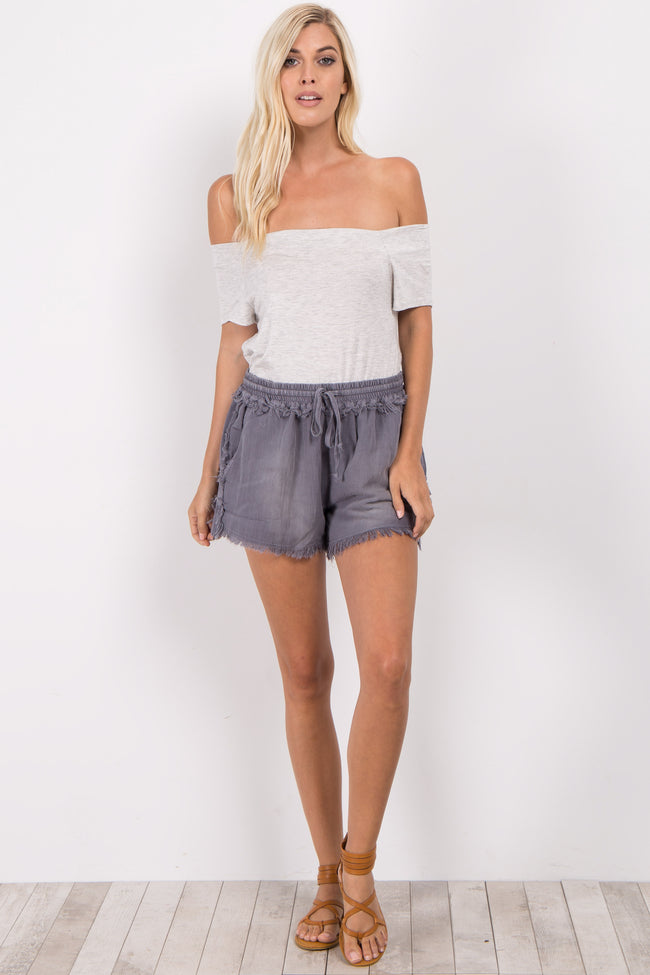 Charcoal Grey Frayed Drawstring Shorts