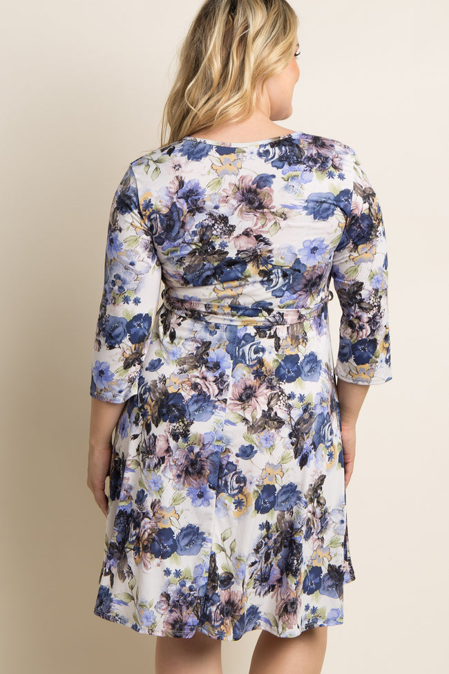 Ivory Abstract Floral Plus Maternity/Nursing Wrap Dress