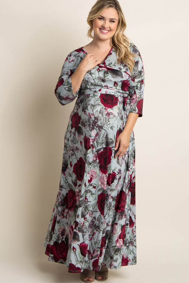 Grey Rose Print Sash Tie Plus Maternity/Nursing Maxi Dress