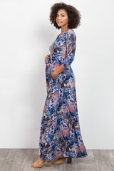 Blue Abstract Floral Maternity/Nursing Wrap Maxi Dress
