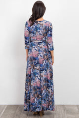 Blue Abstract Floral Wrap Maxi Dress