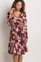 Burgundy Floral Print Sash Tie Wrap Dress