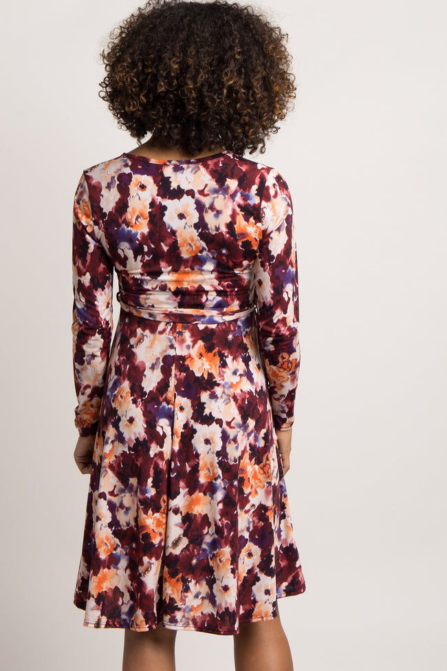 Burgundy Floral Print Sash Tie Maternity Wrap Dress