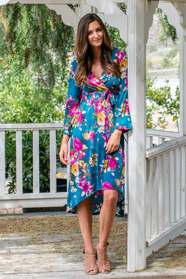 Teal Floral Bell Sleeve Hi-Low Dress
