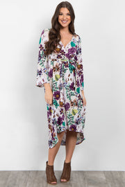 Ivory Floral Bell Sleeve Hi-Low Wrap Dress