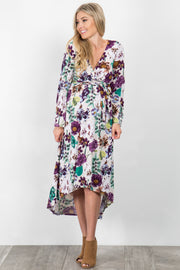 Ivory Floral Bell Sleeve Hi-Low Maternity Wrap Dress