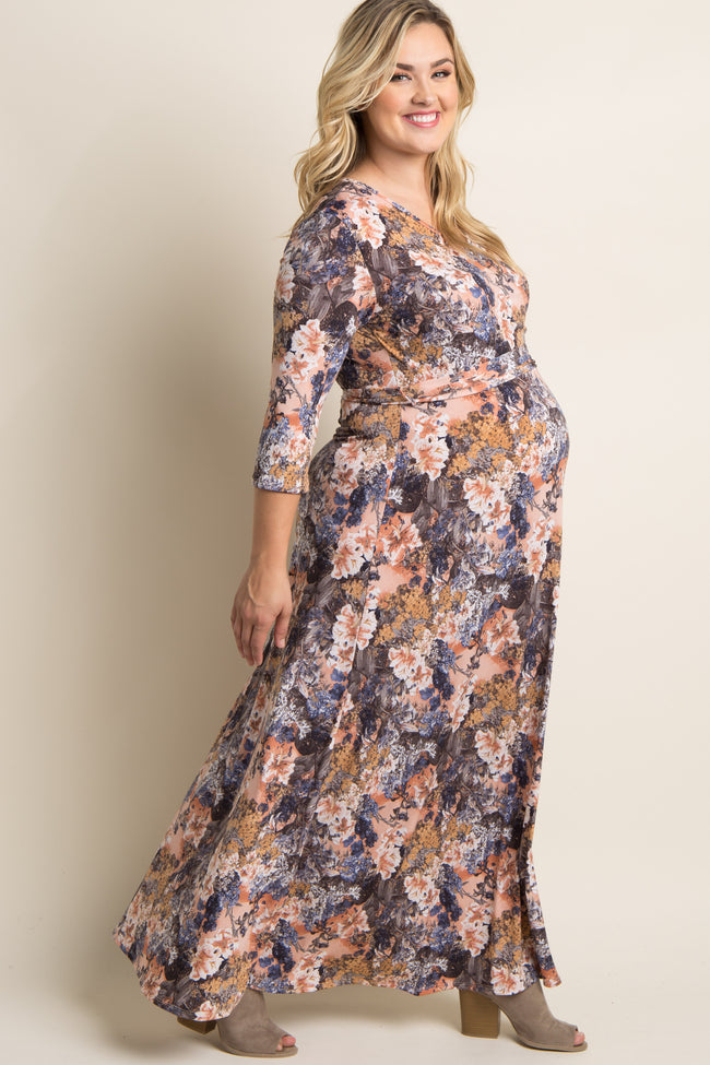 PinkBlush Peach Abstract Floral Plus Maternity/Nursing Wrap Maxi Dress