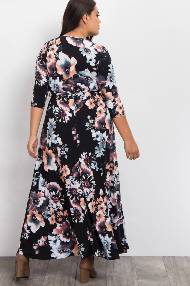 Black Floral Sash Tie Wrap Plus Maxi Dress
