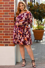 Burgundy Floral Sash Tie Maternity/Nursing Plus Wrap Dress