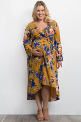 Yellow Floral Bell Sleeve Hi-Low Plus Maternity Wrap Dress