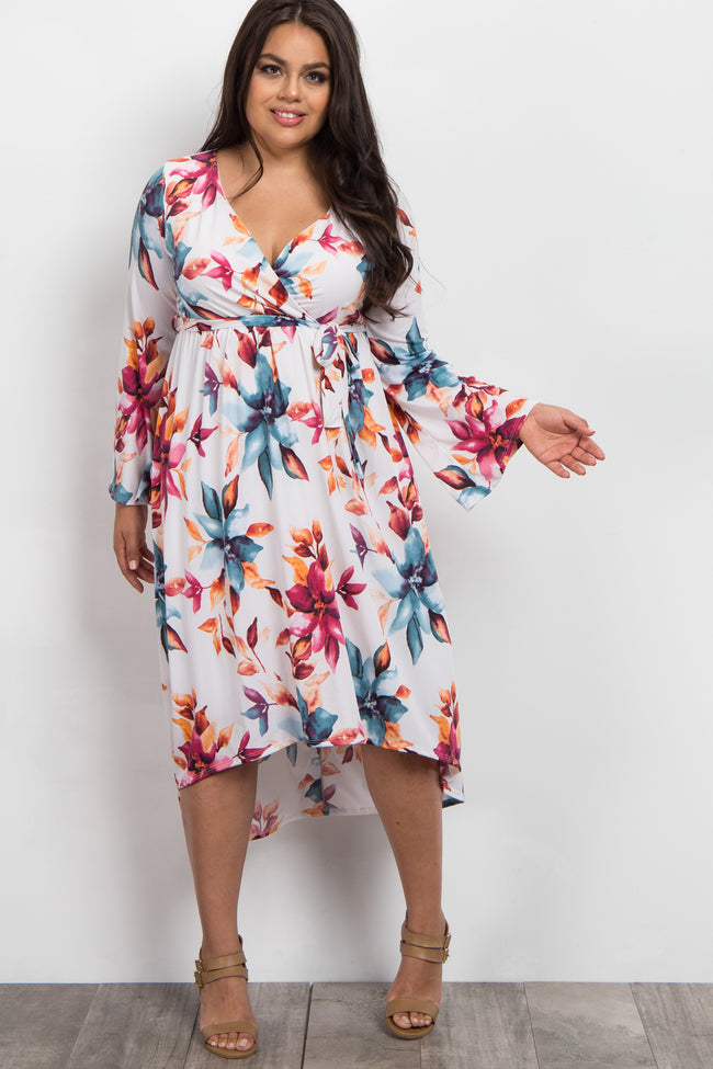 Ivory Watercolor Floral Hi-Low Plus Dress