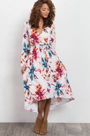 Ivory Watercolor Floral Hi-Low Dress