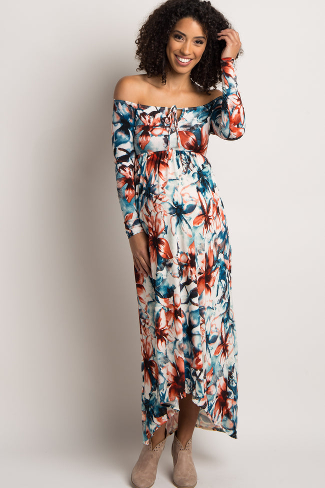 Blue Floral Off Shoulder Hi-Low Maternity Dress