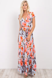 Light Blue Floral Short Sleeve Sash Tie Maxi Dress