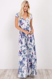 Ivory Floral Short Sleeve Sash Tie Maxi Dress