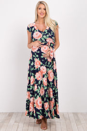 Peach Floral Short Sleeve Maternity/Nursing Wrap Maxi Dress