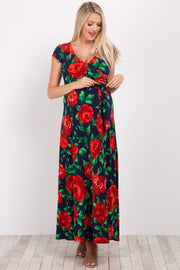 Red Floral Short Sleeve Maternity/Nursing Wrap Maxi Dress