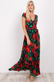 Red Floral Short Sleeve Wrap Maxi Dress