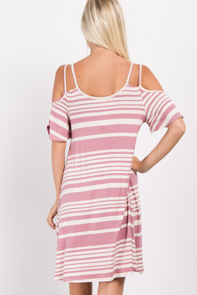 Mauve Alternating Striped Cold Shoulder Dress