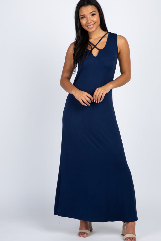 Navy Blue Crisscross Sleeveless Maternity Maxi Dress
