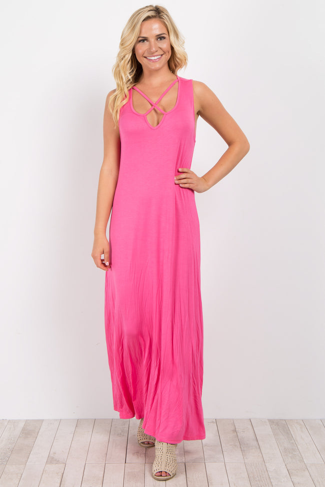 Fuchsia Crisscross Sleeveless Maxi Dress