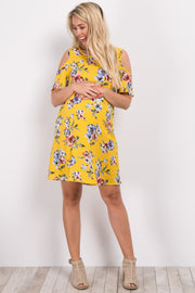 Yellow Floral Cold Shoulder Maternity Dress