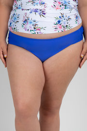 Blue Solid Basic Plus Maternity Bikini Bottoms
