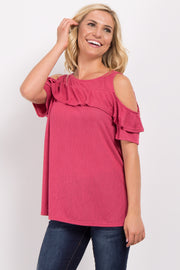 Coral Ruffle Accent Cold Shoulder Top