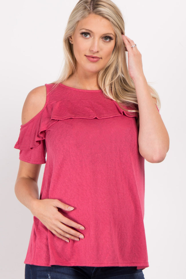 Coral Ruffle Accent Cold Shoulder Maternity Top