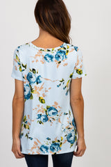 PinkBlush Blue Floral Knot Top