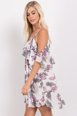Cream Floral Chiffon Cold Shoulder Dress