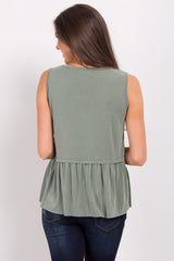 Olive Solid Sleeveless Peplum Top