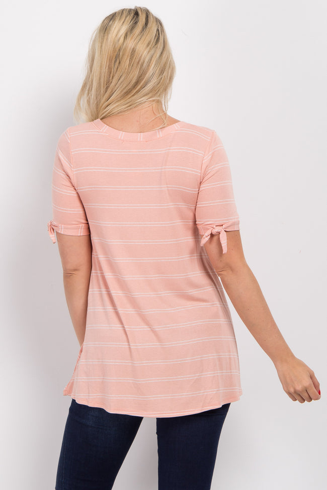 Peach Thin Striped Sleeve Tie Maternity Top