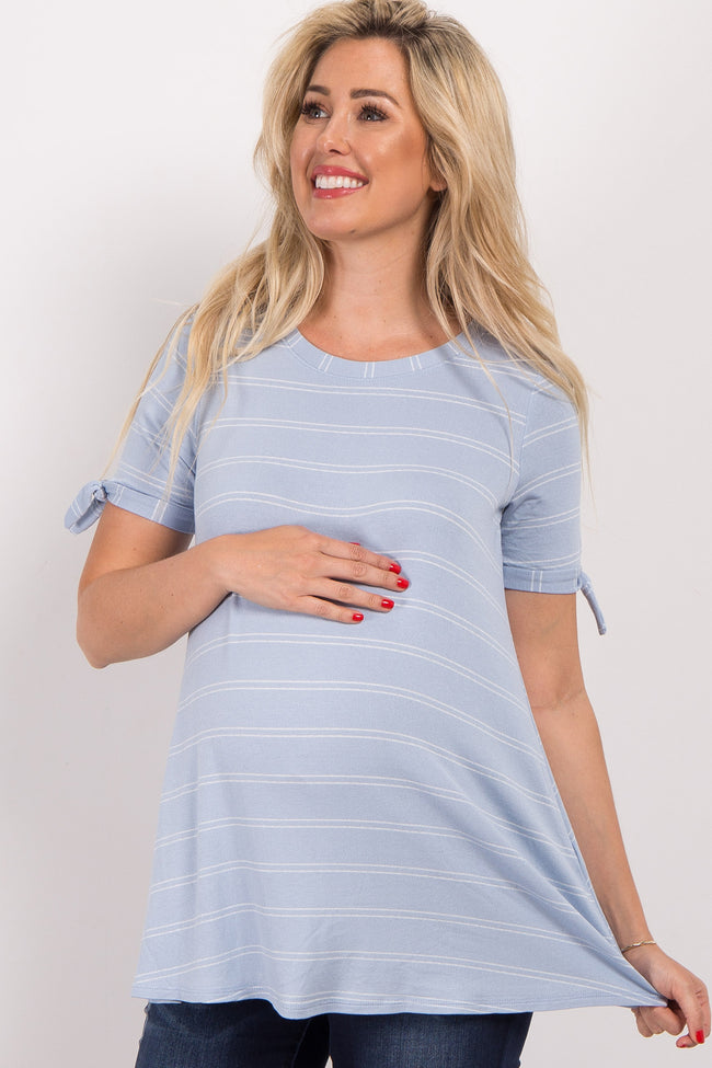 Blue Thin Striped Sleeve Tie Maternity Top