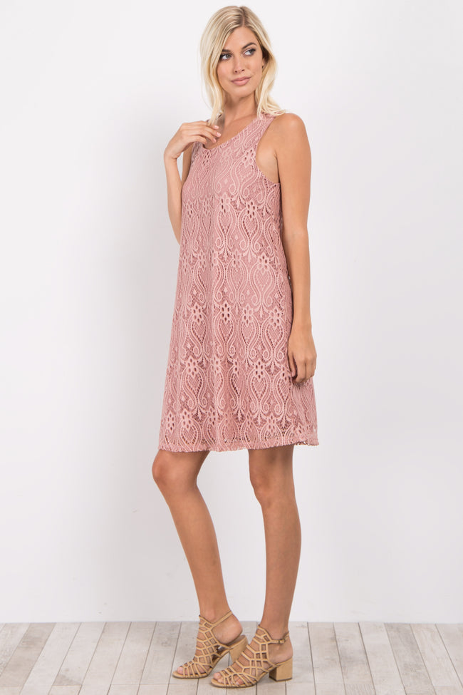 Mauve Sleeveless Lace Overlay Dress