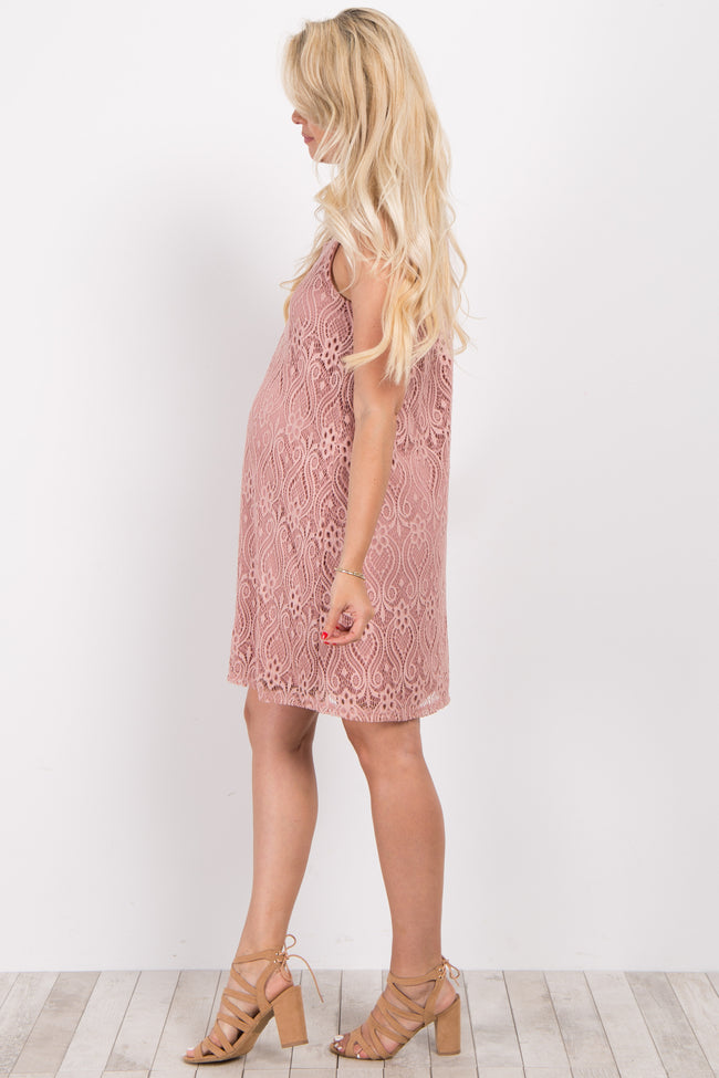 Mauve Sleeveless Lace Overlay Maternity Dress
