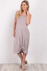 Brown Striped Maternity Midi Knot Dress