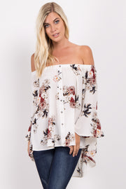 Ivory Floral Off Shoulder Bell Sleeve Top