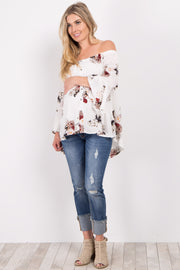 Ivory Floral Off Shoulder Bell Sleeve Maternity Top