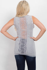 Heather Grey Lace Ribbed Tank Top