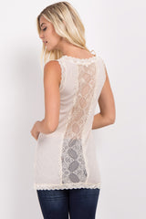 Ivory Lace Ribbed Tank Top