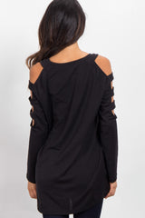 Black Open Shoulder Cutout Knit Top