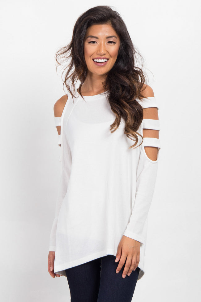 White Open Shoulder Cutout Knit Maternity Top
