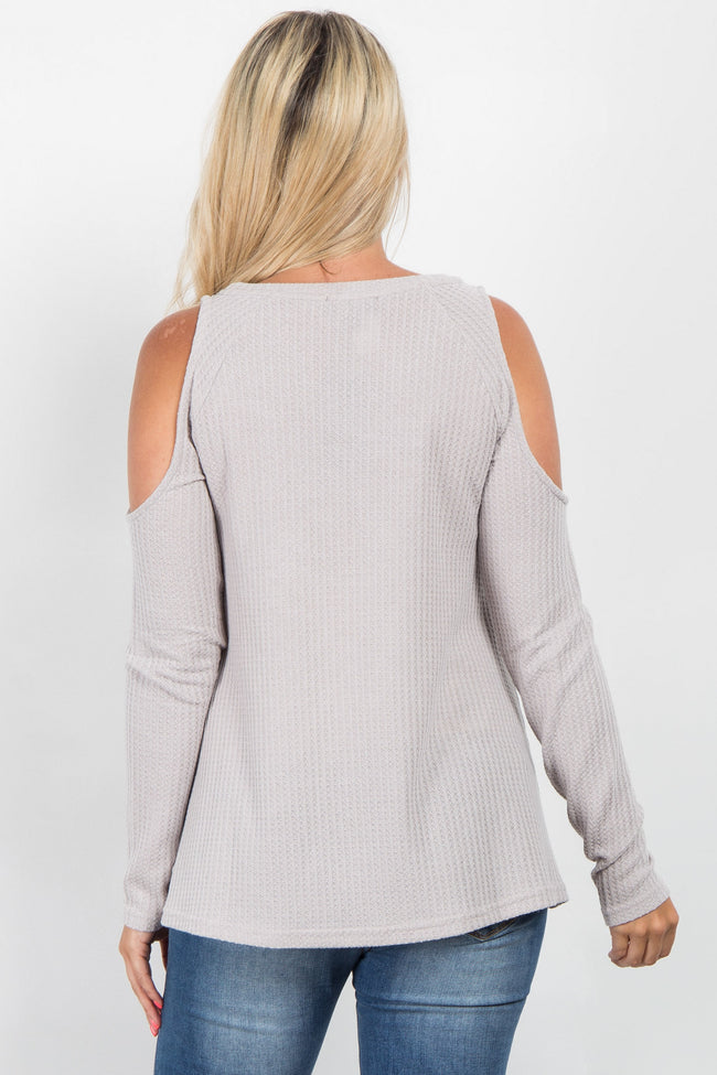 Heather Grey Solid Cold Shoulder Maternity Sweater