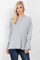 Heather Grey Ruffle Sleeve Maternity Sweater