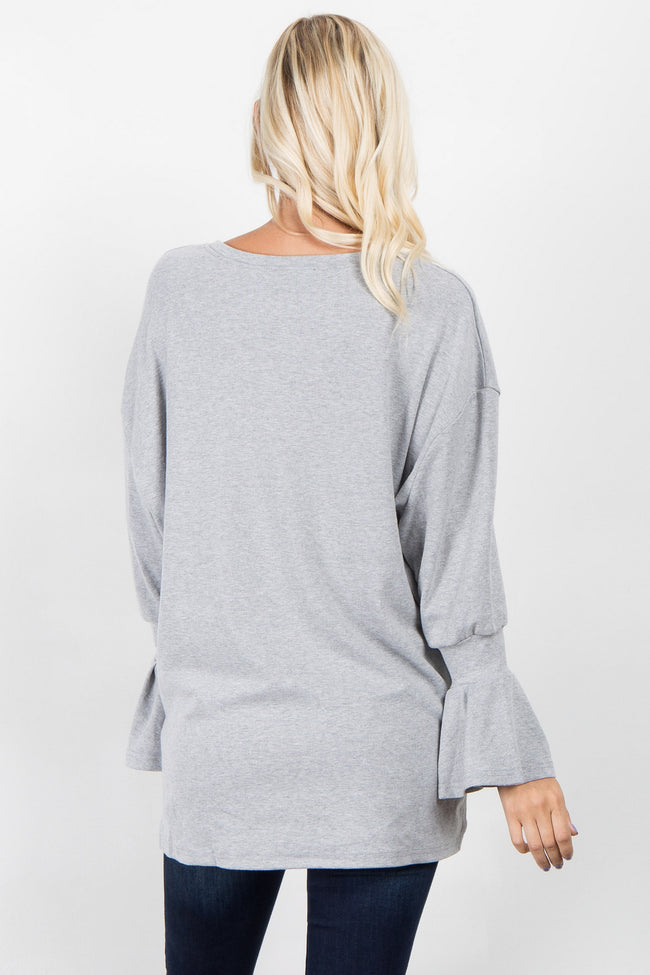 Heather Grey Ruffle Sleeve Sweater