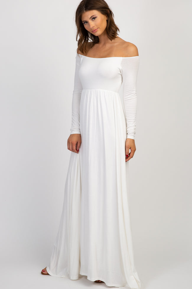 PinkBlush Ivory Solid Off Shoulder Maxi Dress