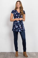 Navy Floral Sash Tie Maternity Wrap Top