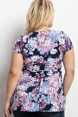 Navy Blue Floral Wrap Plus Maternity Top